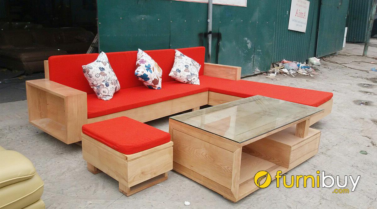 bàn ghế sofa gỗ sồi kiểu dáng góc L hiện đại 4120