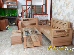 sofa gỗ sồi góc chữ L đẹp fbg0111