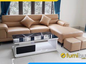 Ghế sofa góc chữ L bọc da kê phòng khách hiện đại